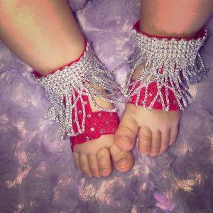 Other - Silver fringe barefoot sandals